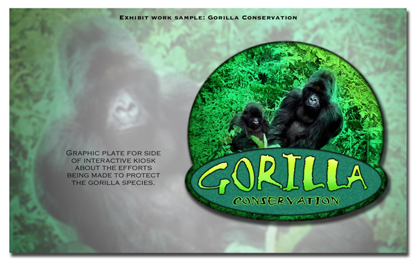 Graphic plate for the side of an interactive kiosk about the efforts being made to protect the Gorilla species.